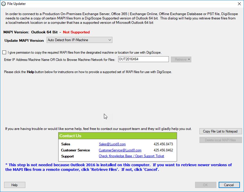 Updating machine version file